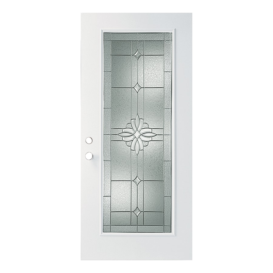ReliaBilt Laurel Flush Insulating Core Full Lite Left-Hand Outswing Fiberglass Primed Prehung Entry Door (Common: 36-in x 80-in; Actual: 37.5000-in x 80.3750-in)