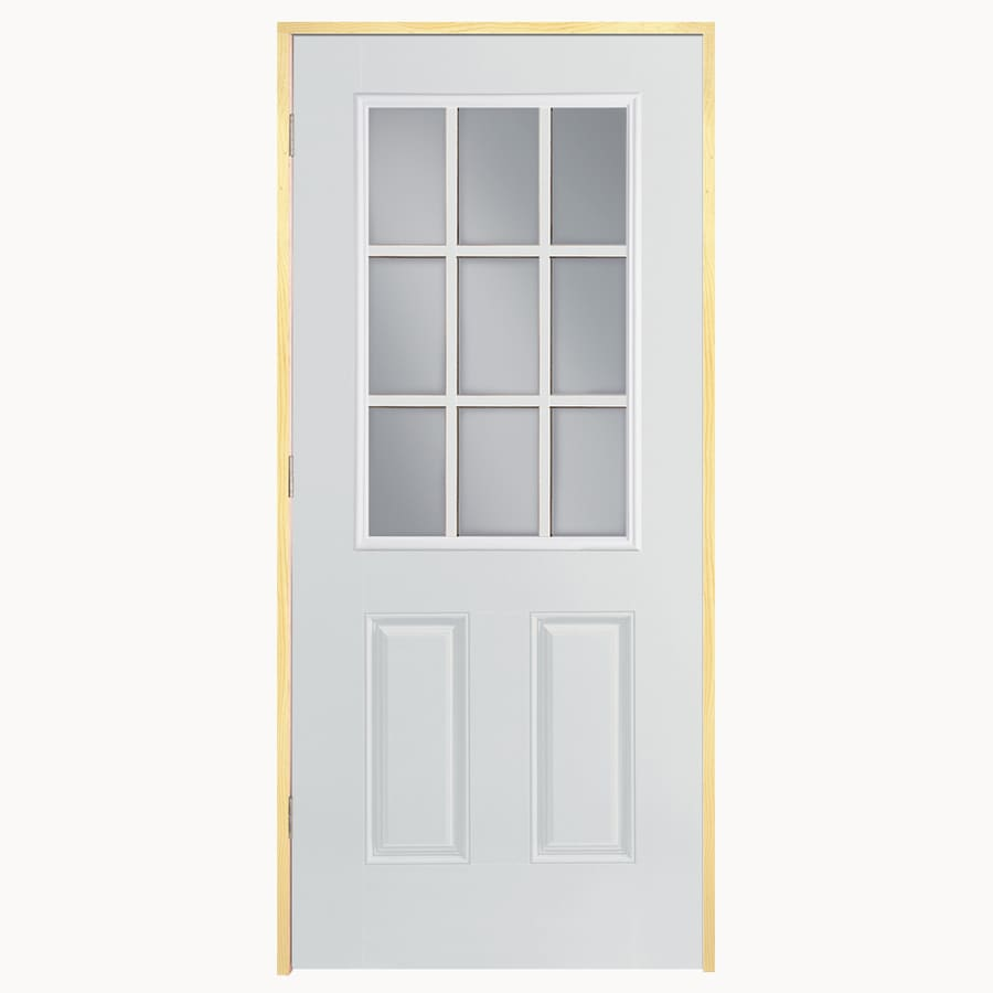 ReliaBilt 2-Panel Insulating Core 9-Lite Left-Hand Inswing Primed Fiberglass Primed Prehung Entry Door (Common: 32-in x 80-in; Actual: 33.5-in x 81.5-in)