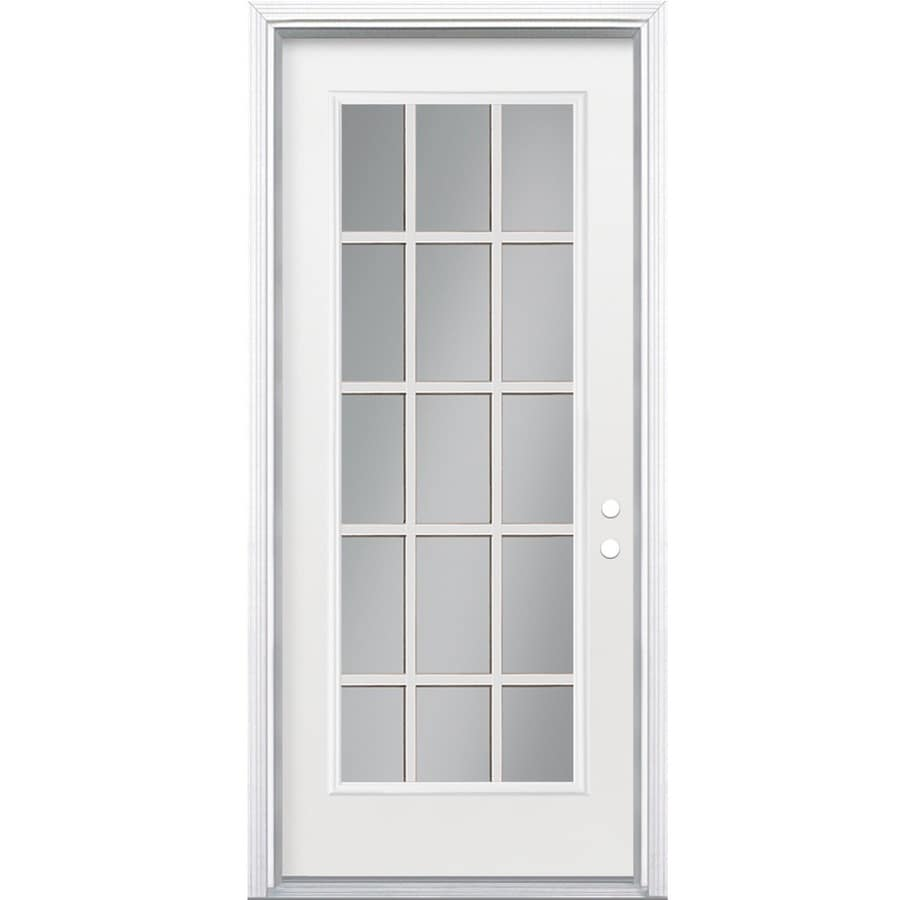 ReliaBilt Flush Insulating Core 15-lite Left-Hand Inswing Steel Primed Prehung Entry Door