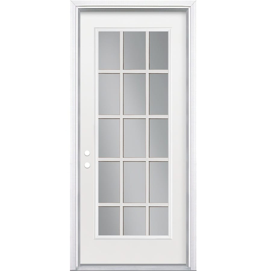 ReliaBilt Flush Insulating Core 15-lite Right-Hand Inswing Steel Primed Prehung Entry Door