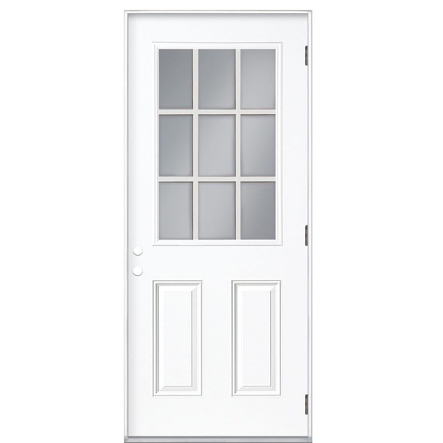 Shop reliabilt left hand outswing primed steel prehung entry door with insulating core common 36 x 80 outswing exterior door