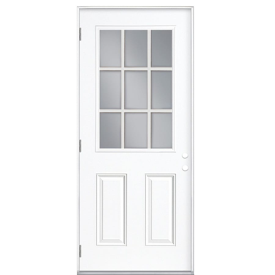 ReliaBilt 2-Panel Insulating Core 9-Lite Right-Hand Outswing Primed Fiberglass Primed Prehung Entry Door (Common: 32-in x 80-in; Actual: 33.5-in x 80.375-in)