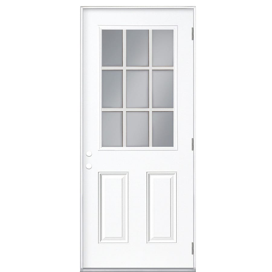 ReliaBilt 2-panel Insulating Core 9-lite Left-Hand Outswing Fiberglass Primed Prehung Entry Door (Common: 36-in x 80-in; Actual: 37.5000-in x 80.3750-in)