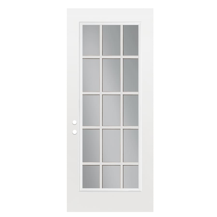 ReliaBilt Flush Insulating Core 15-lite Left-Hand Outswing Fiberglass Primed Prehung Entry Door (Common: 32-in x 80-in; Actual: 33.5000-in x 80.3750-in)