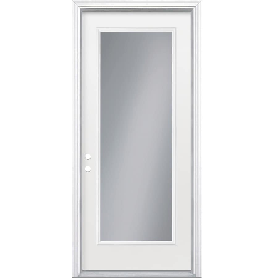Shop reliabilt flush insulating core full lite right hand inswing steel primed prehung entry for How to install a prehung exterior steel door