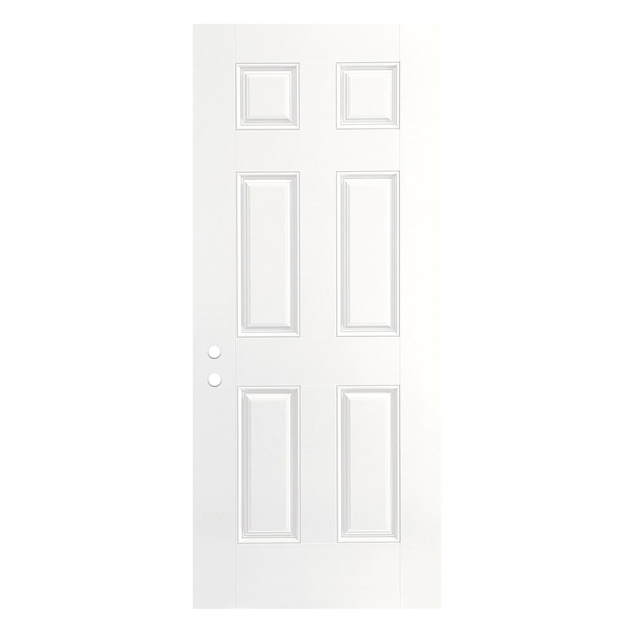 ReliaBilt 6-panel Insulating Core Left-Hand Outswing Fiberglass Primed Prehung Entry Door (Common: 30-in x 80-in; Actual: 31.5000-in x 80.3750-in)