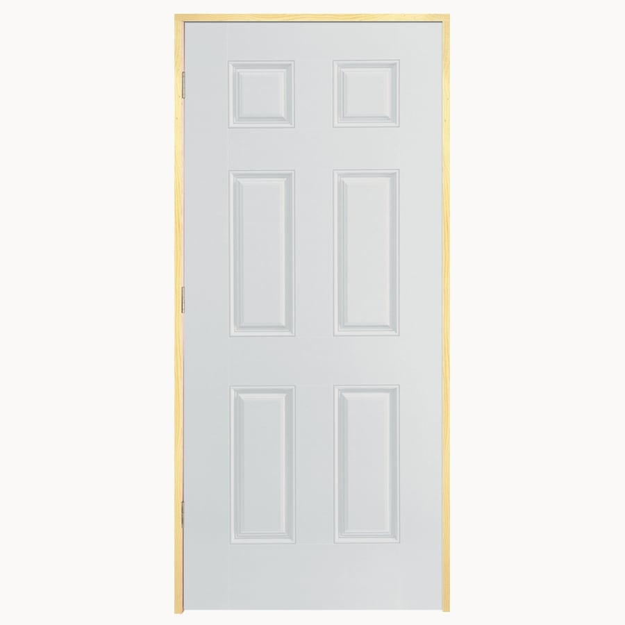 Shop reliabilt 6 panel insulating core right hand outswing 36 x 80 outswing exterior door