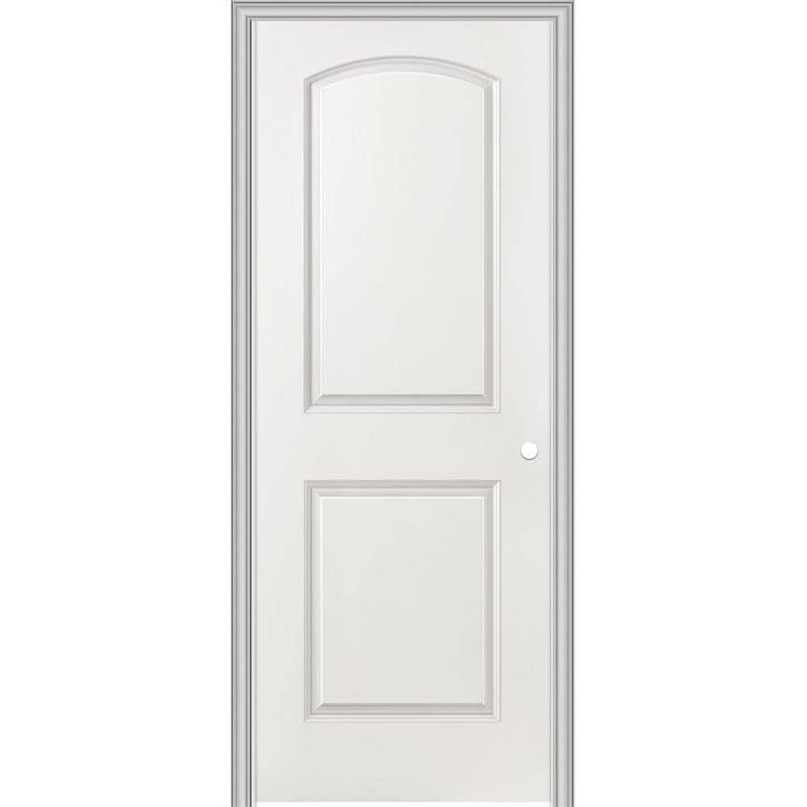 ReliaBilt 30-in x 80-in 2-Panel Round Top Hollow Smooth Molded Composite Right-Hand Interior Single Prehung Door