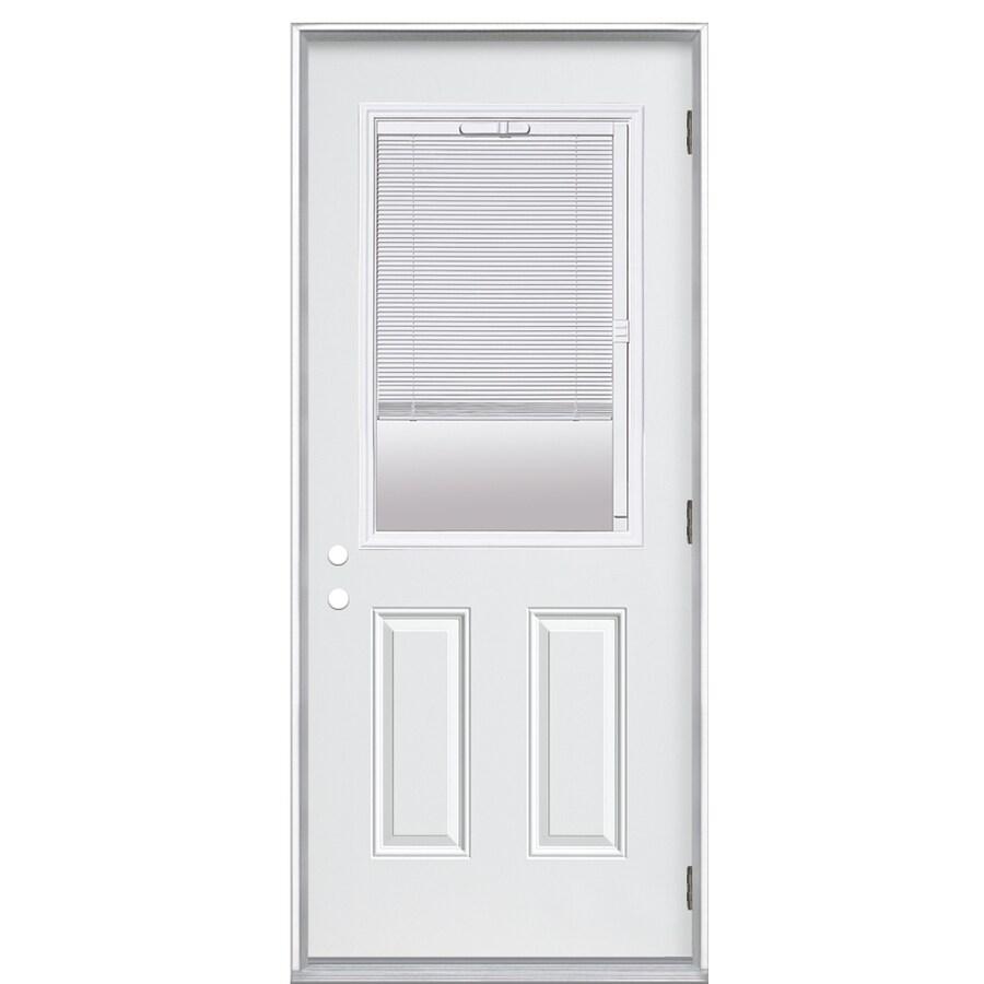 ReliaBilt 2-Panel Insulating Core Blinds Between The Glass Half Lite Left-Hand Outswing Primed Fiberglass Prehung Entry Door (Common: 32-in x 80-in; Actual: 33.5-in x 80.375-in)