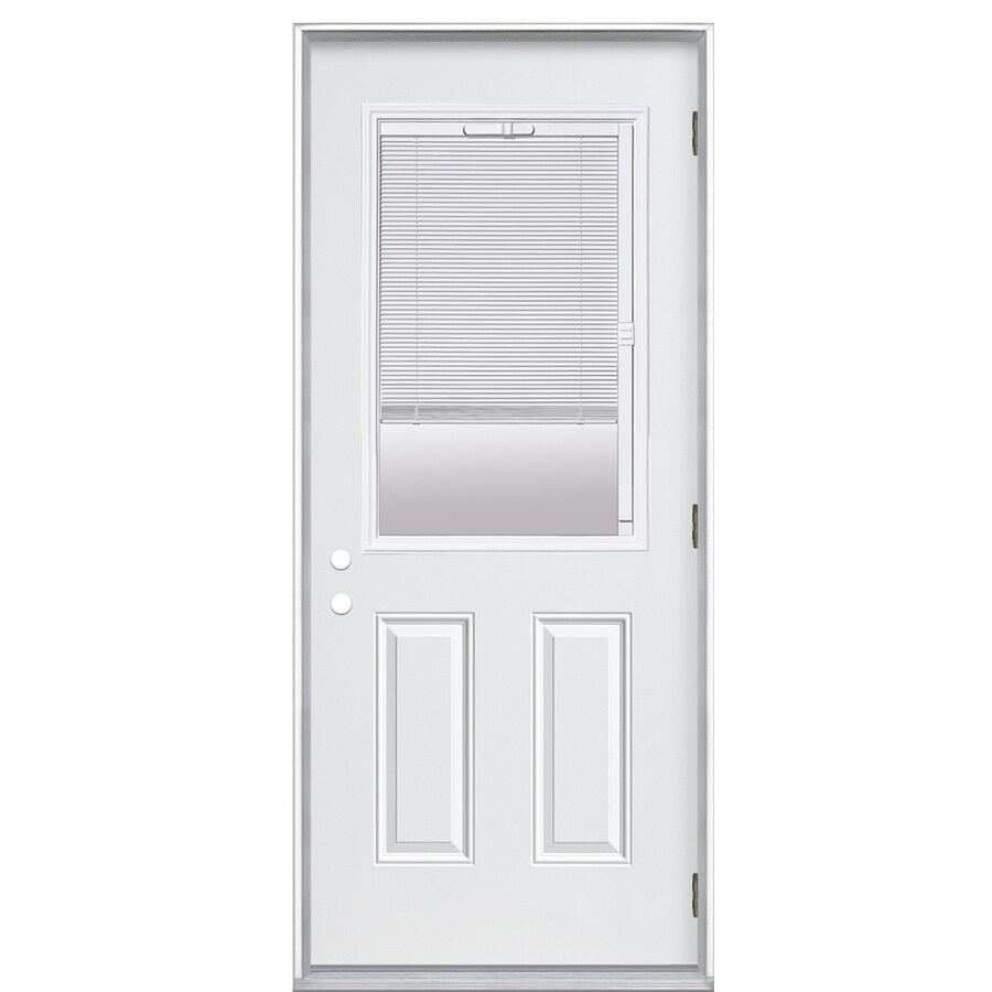 ReliaBilt 2-Panel Insulating Core Blinds Between The Glass Half Lite Left-Hand Outswing Primed Fiberglass Prehung Entry Door (Common: 36-in x 80-in; Actual: 37.5-in x 80.375-in)