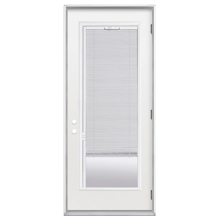 ReliaBilt Flush Insulating Core Blinds Between The Glass Full Lite Left-Hand Outswing Primed Fiberglass Prehung Entry Door (Common: 36-in x 80-in; Actual: 37.5-in x 80.375-in)