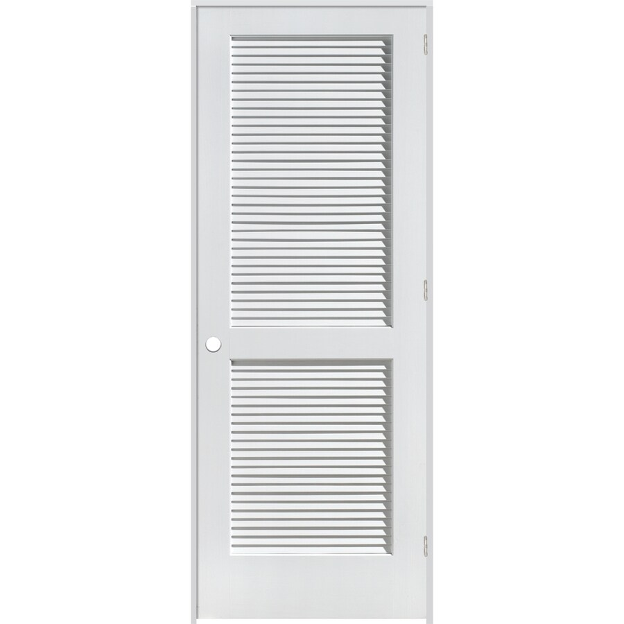 ReliaBilt 24 In X 80 In Louvered Solid Wood Core Wood Left Hand