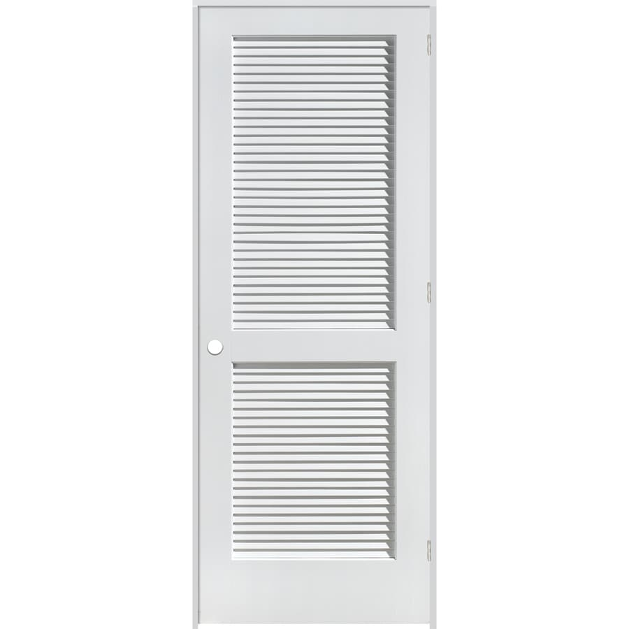 Reliabilt Louvered Solid Pine Left Hand Interior Single Prehung Door Common 26