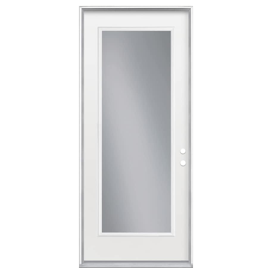 ReliaBilt Laurel Flush Insulating Core Full Lite Right-Hand Outswing Primed Fiberglass Primed Prehung Entry Door (Common: 36-in x 80-in; Actual: 37.5-in x 80.375-in)