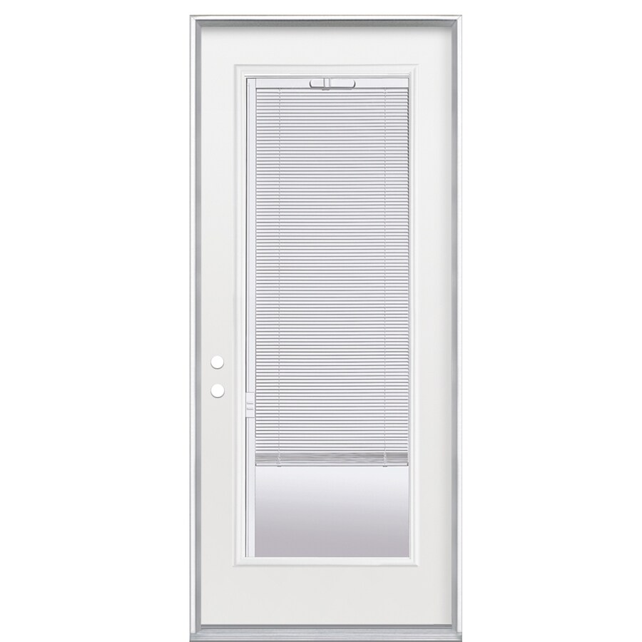 ReliaBilt Flush Insulating Core Blinds Between The Glass Full Lite Left-Hand Outswing Primed Fiberglass Primed Prehung Entry Door (Common: 36-in x 80-in; Actual: 37.5-in x 80.375-in)