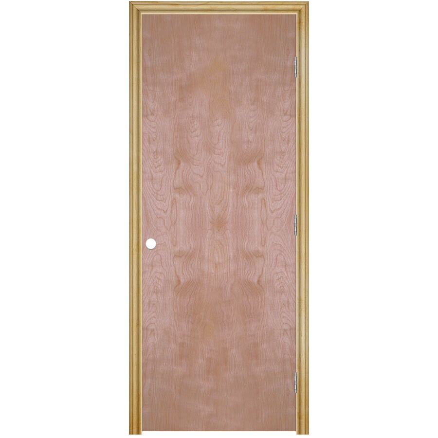 ReliaBilt Prehung Hollow Core Flush Birch Interior Door (Common: 32-in x 80-in; Actual: 33.5-in x 81.5-in)