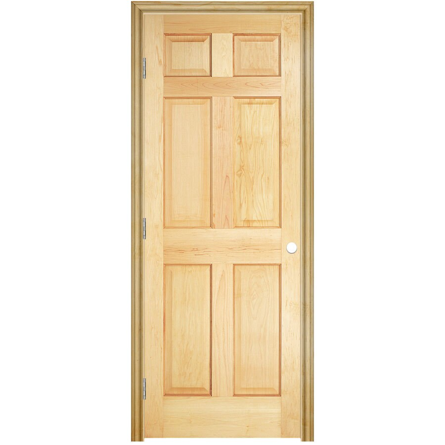 ReliaBilt Unfinished 6 Panel Solid Core Wood Pine Single Pre Hung Door  (Common