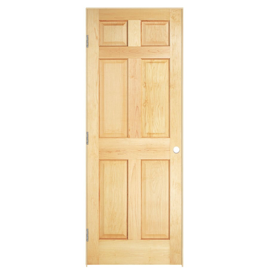 Shop reliabilt unfinished 6 panel solid core wood pine single pre hung door common 28 in x 80 Solid wood six panel interior doors