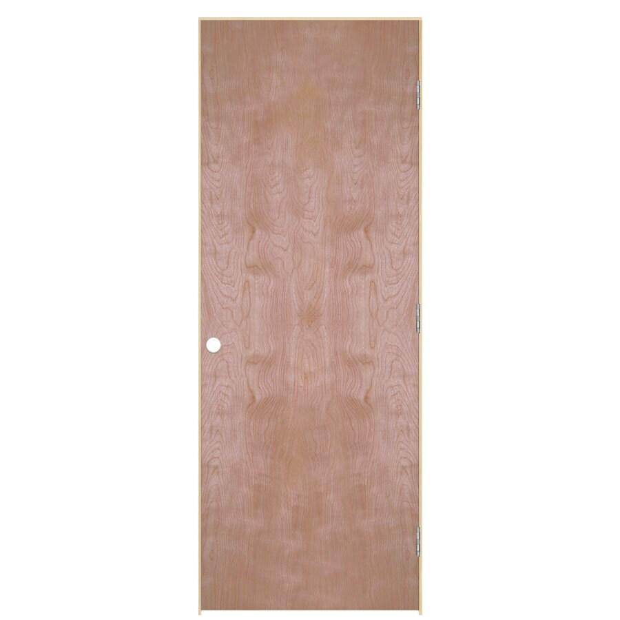 ReliaBilt Prehung Hollow Core Flush Birch Interior Door (Common: 32-in x 80-in; Actual: 33.5-in x 81.5-in)