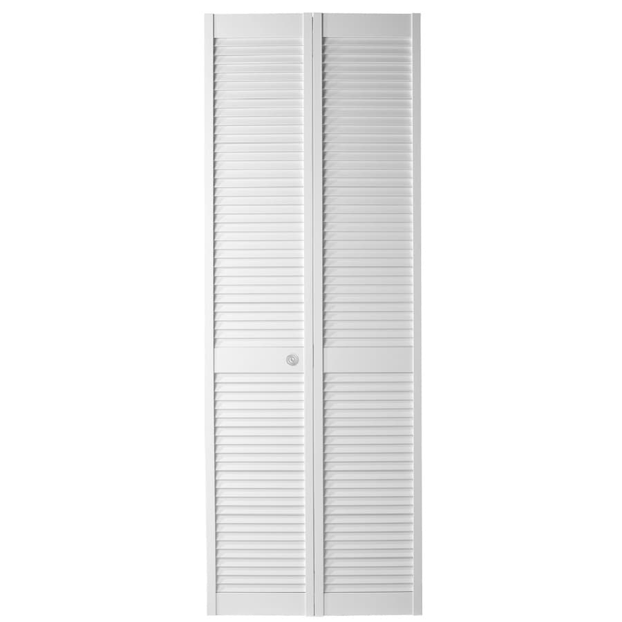 Masonite White Solid Core Full Louver Pine Bi-Fold Closet Interior Door (Common: 30-in x 80-in; Actual: 29.5-in x 79-in)