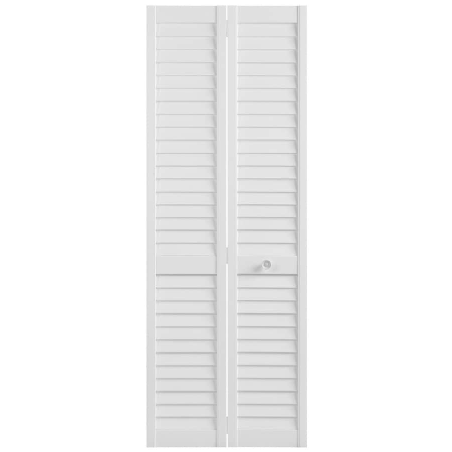 Masonite White Solid Core Plantation Louver Pine Bi-Fold Closet Interior Door (Common: 24-in x 80-in; Actual: 23.5-in x 79-in)