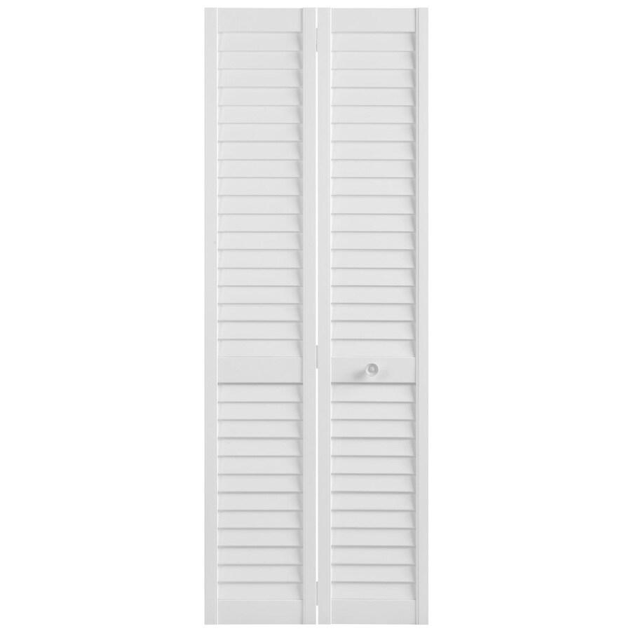 Masonite Classics White Plantation Louver Pine Bi-fold Closet Interior Door (Common: 30-in x 80-in; Actual: 29.5-in x 79-in)