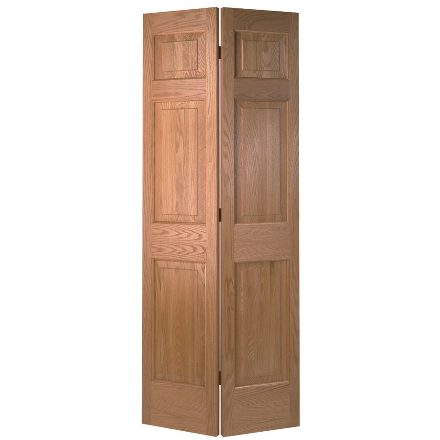 Shop masonite classics 6 panel oak bi fold closet interior for Folding doors