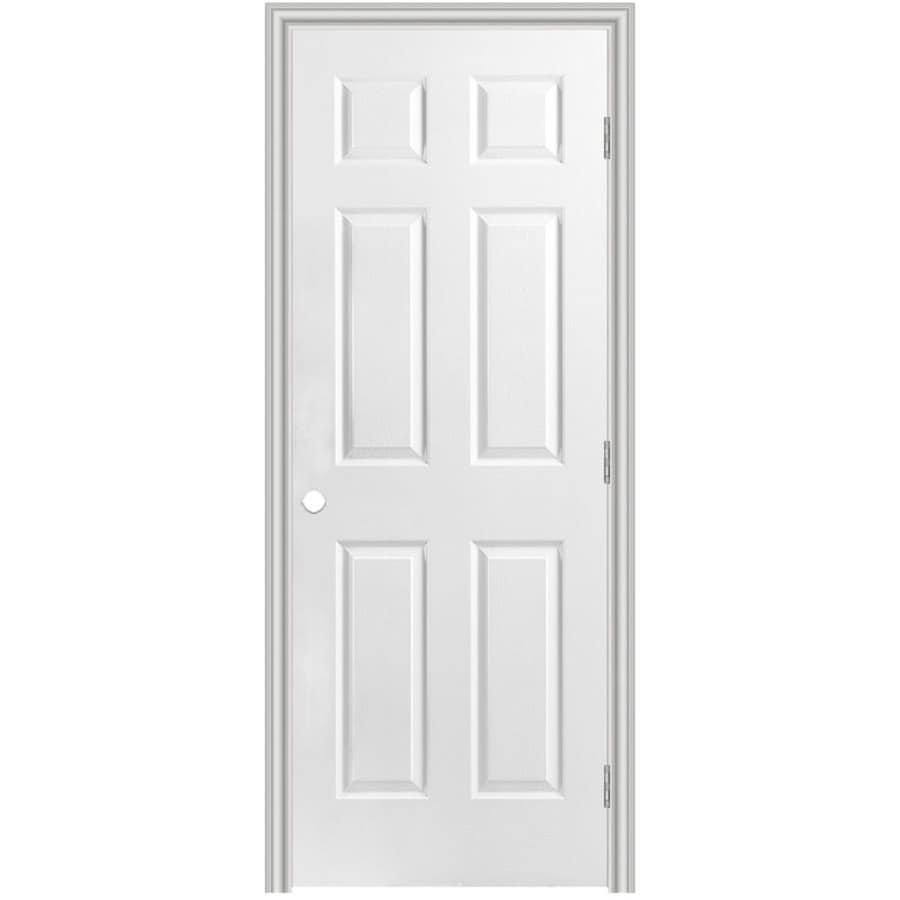 Masonite primed 6 panel hollow core molded composite single pre hung door common 24 in x 80 in for Lowes interior doors prehung