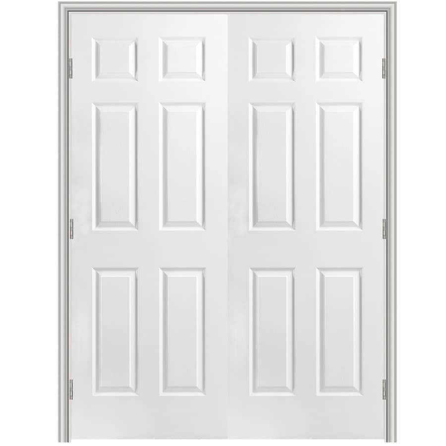 Shop Masonite Primed 6 Panel Hollow Core Molded Composite Double Pre Hung Door Common 48 In X