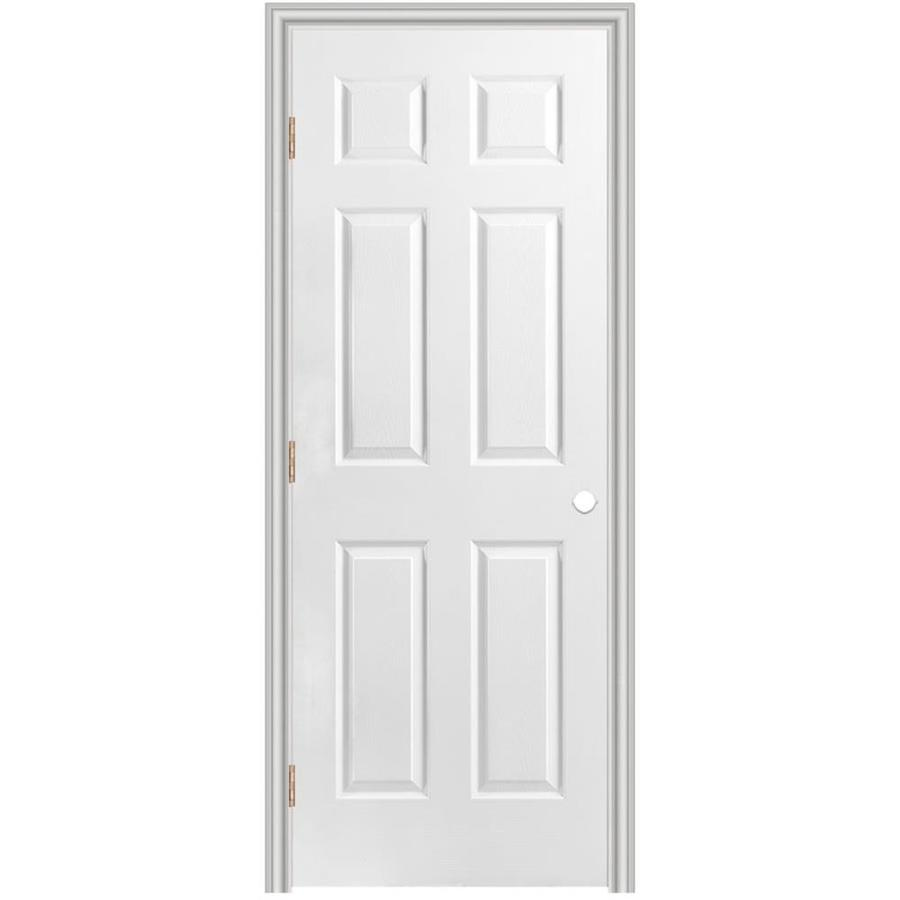 Shop Masonite Prehung Hollow Core 6 Panel Interior Door Common 30 In X 80 In Actual 31 5 In