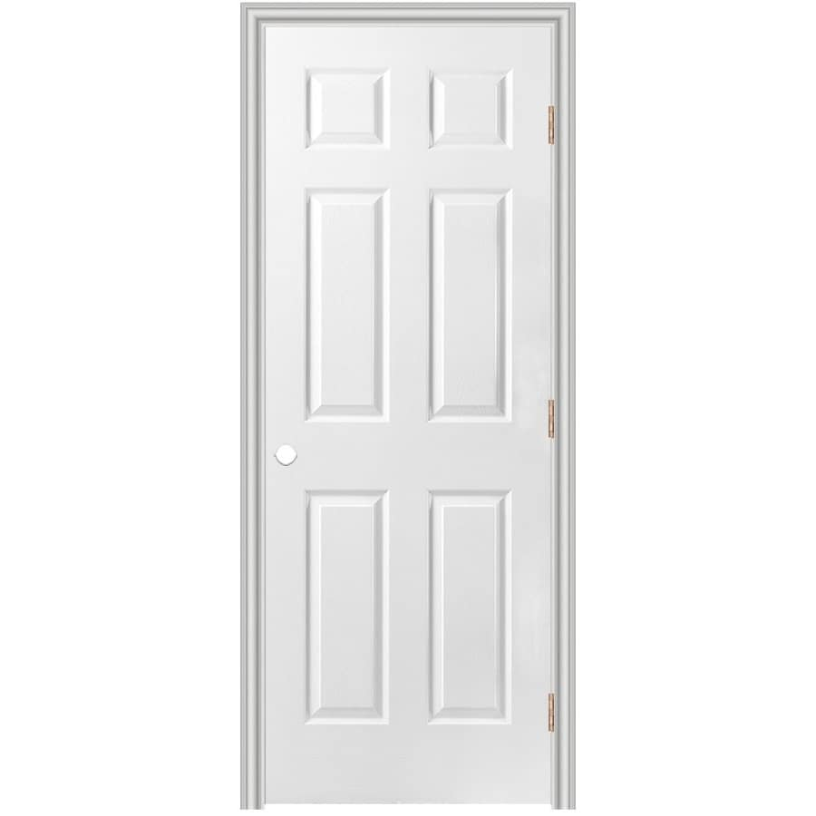 Shop Masonite Prehung Hollow Core 6 Panel Interior Door Common 36 In X 80 In Actual 37 5 In