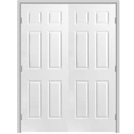 Masonite Primed 6-Panel Hollow Core Molded Composite Double Pre-Hung Door (Common  sc 1 st  Loweu0027s & Pre-Hung Doors at Lowes.com