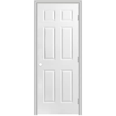 Masonite Traditional 30 In X 78 In 6 Panel Hollow Core Primed Molded Composite Left Hand Inswing Outswing Single Prehung Interior Door In The Prehung Interior Doors Department At Lowes Com