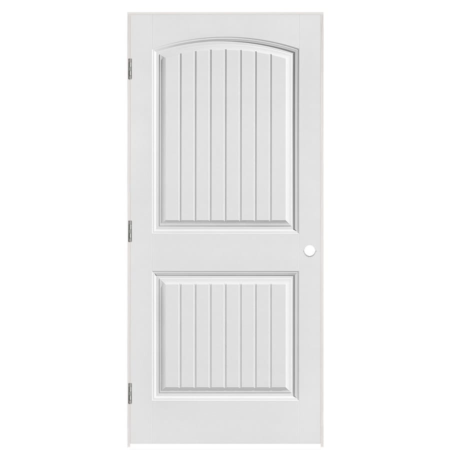 Masonite Prehung Hollow Core 2-Panel Round Top Plank Interior Door (Common: 36-in x 80-in; Actual: 37.5-in x 81.5-in)