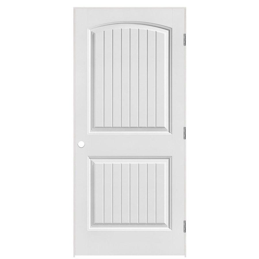 Masonite Classics  2-panel Round Top Plank Single Prehung Interior Door (Common: 36-in X 80-in; Actual: 37.5-in x 81.5-in)
