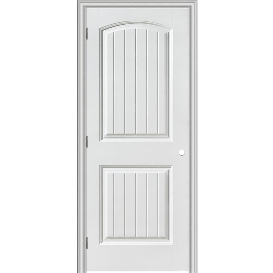 Masonite Primed 2 Panel Round Top Plank Hollow Core Molded Composite Single  Pre Hung