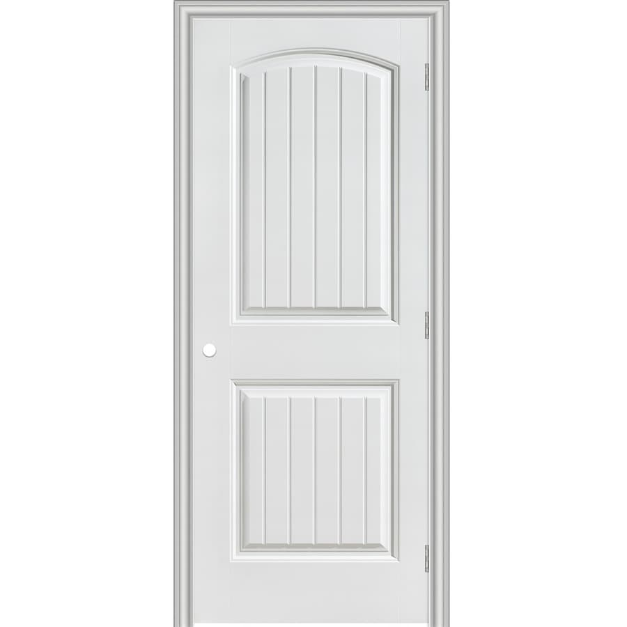 Shop masonite primed 2 panel round top plank hollow core for Prehung interior doors