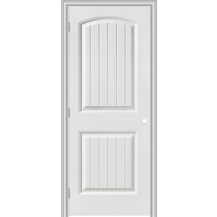 Masonite Prehung Hollow Core 2-Panel Round Top Plank Interior Door (Common: 30-in x 80-in; Actual: 31.5-in x 81.5-in)