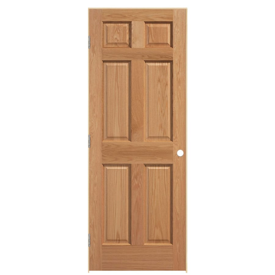 Shop masonite unfinished 6 panel solid core wood oak for Solid wood panel interior doors