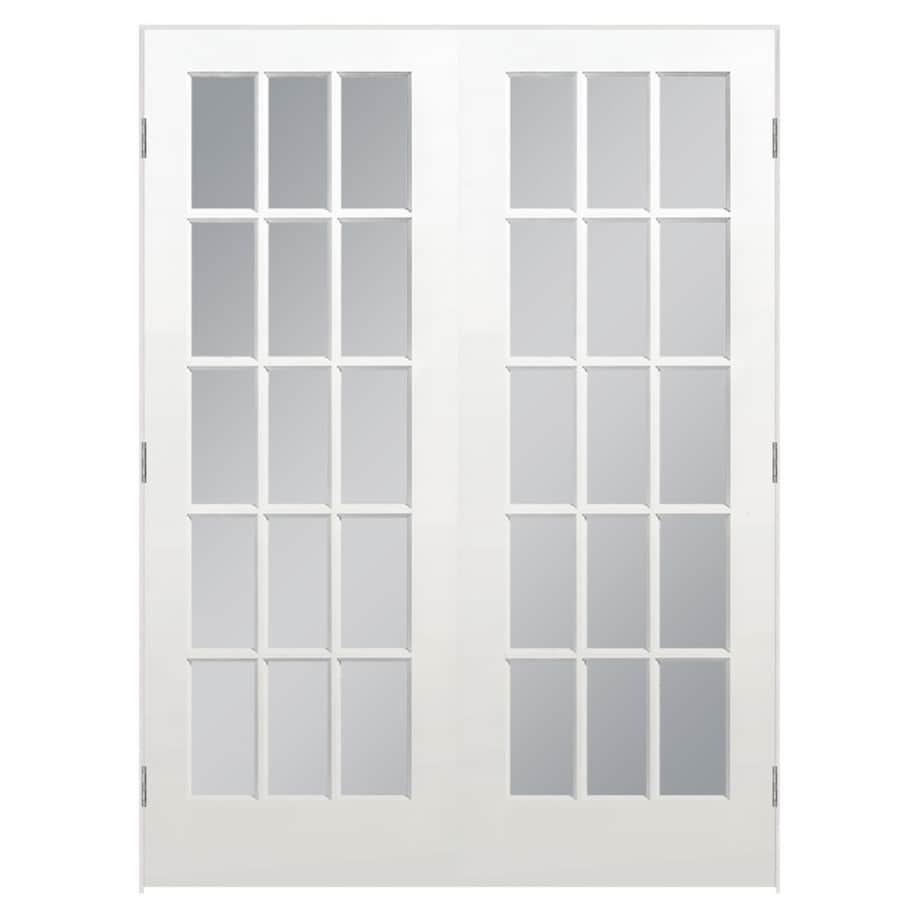 Masonite primed solid core clear glass wood pine double - Double interior doors with glass ...
