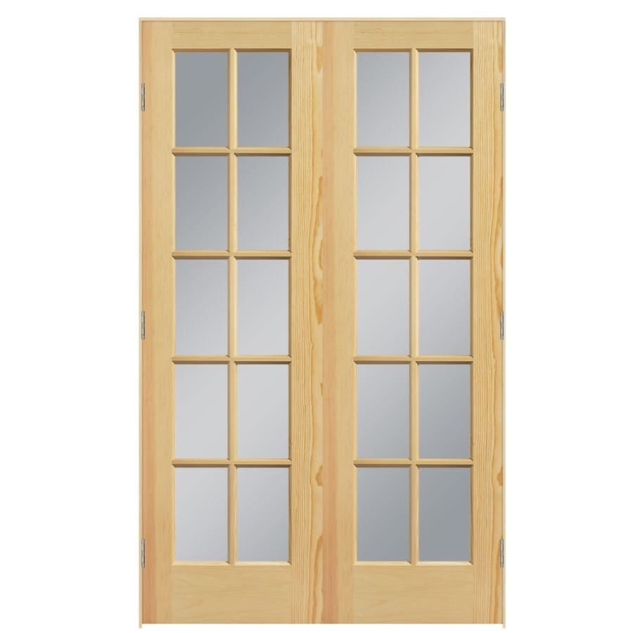 Shop masonite french unfinished solid core clear glass wood pine double prehung interior door for Interior french doors