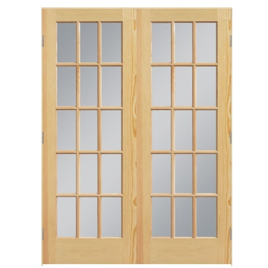 Shop masonite clear glass pine interior door common 60 for Double doors with glass