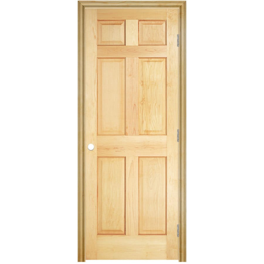 Shop Masonite Unfinished 6 Panel Solid Core Wood Pine Single Pre Hung Door Common 32 In X 80