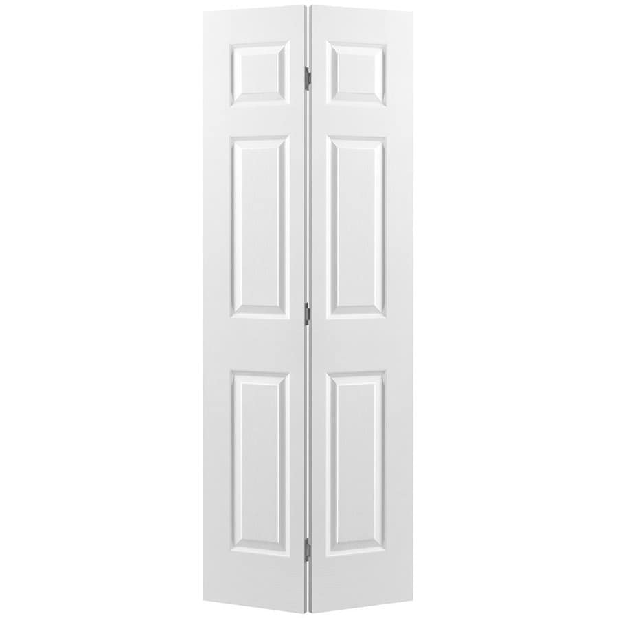 Plain White Interior Doors - Masonite hollow core 6 panel bi fold closet interior door
