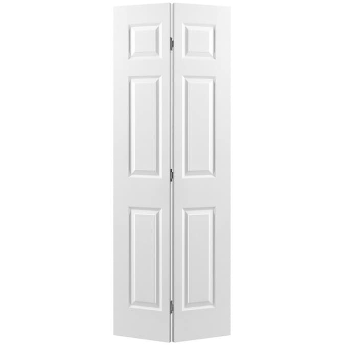 Masonite Traditional 60 In X 80 In 6 Panel Molded Composite Bifold Door Hardware Included In The Bifold Sliding Closet Doors Department At Lowes Com