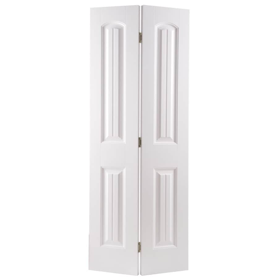 Masonite Classics 2-panel Round Top Plank Bi-fold Closet Interior Door (Common: 24-in X 80-in; Actual: 23.5-in x 79-in)