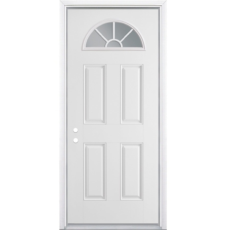 Masonite 4-Panel Insulating Core Fan Lite Right-Hand Inswing Steel Primed Prehung Entry Door (Common: 36-in x 80-in; Actual: 37.5-in x 81.5-in)