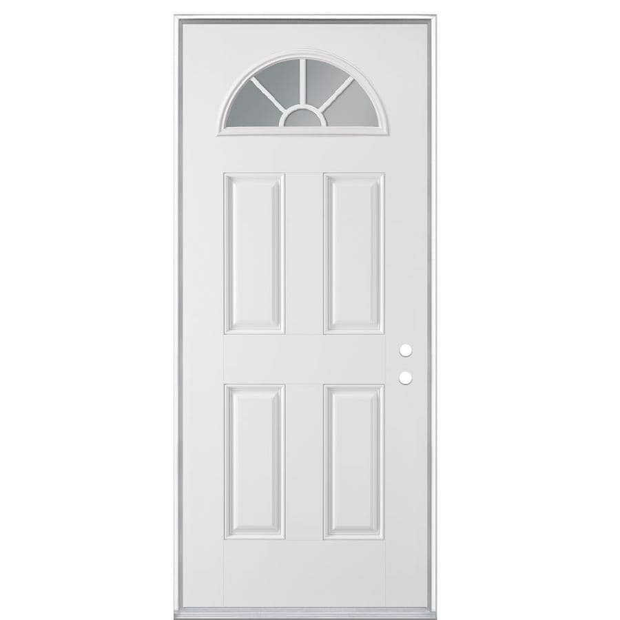 Masonite 4-panel Insulating Core Fan Lite Left-Hand Inswing Steel Primed Prehung Entry Door (Common: 36-in x 80-in; Actual: 37.5000-in x 81.5000-in)