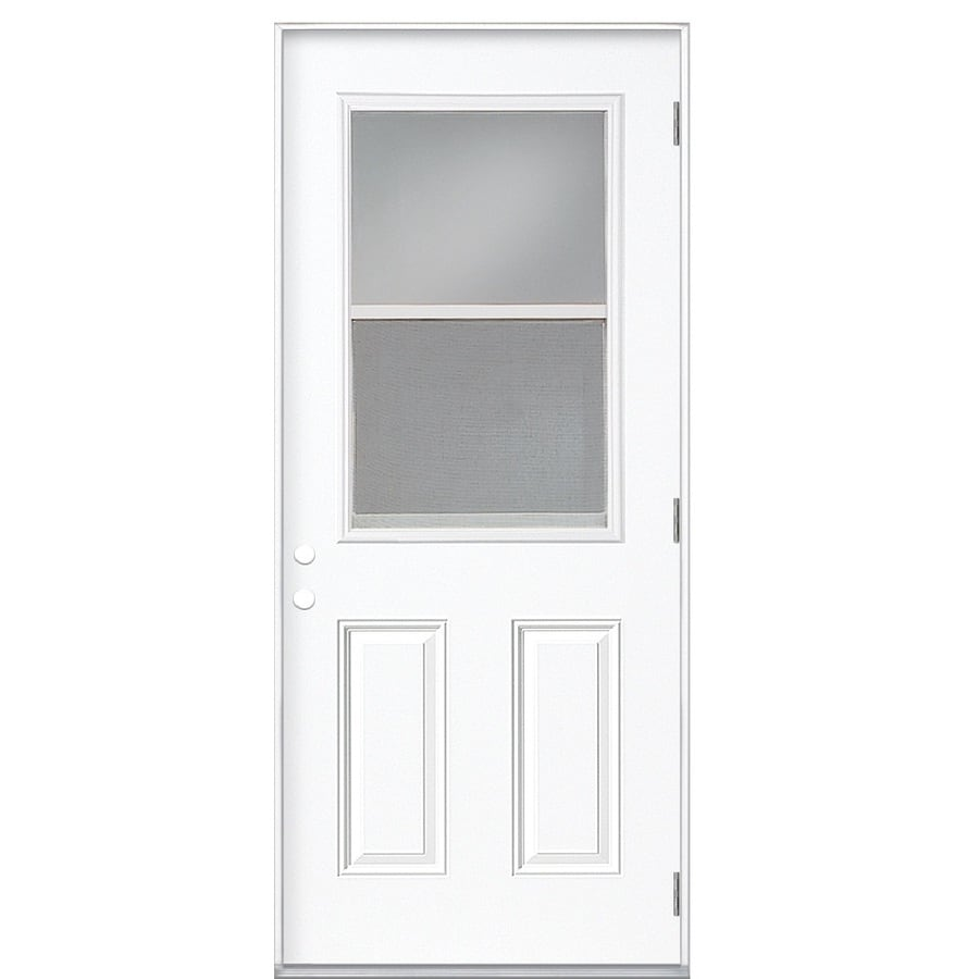 Shop Masonite Half Lite Clear Glass Left Hand Outswing Primed Steel Prehung Double Entry Door