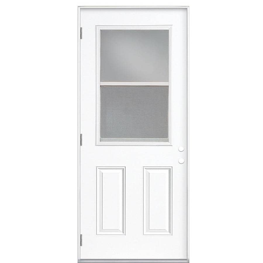Masonite 2-Panel Insulating Core Vented Glass with Screen Right-Hand Outswing Steel Primed Prehung Entry Door (Common: 36-in x 80-in; Actual: 37.5-in x 80.375-in)